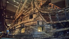 Wooden ship in museum Royalty Free Stock Photo
