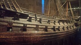 Wooden ship in museum  Royalty Free Stock Image