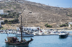 Wooden ship near the Ios island Royalty Free Stock Image