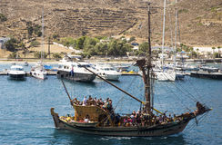 Wooden ship near the Ios island Stock Photo
