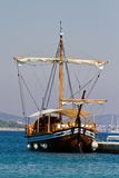 Wooden ship in port Royalty Free Stock Image
