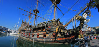 Wooden ship in port of Genova Stock Photography