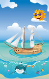 Wooden Ship in the Sea Stock Photo