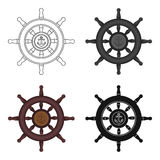 Wooden ship steering wheel icon in cartoon style isolated on white background. Pirates symbol stock vector illustration. Wooden ship steering wheel icon in Stock Photo