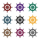Wooden ship steering wheel icon in isolated Stock Photography