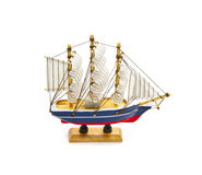 Wooden ship toy model isolated Stock Photos