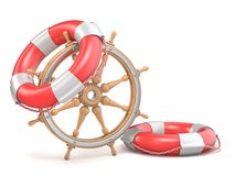 Wooden ship wheel and two life buoys 3D Royalty Free Stock Image