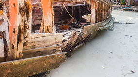 Wooden ship wrecked. Stock Photo
