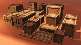 Wooden Shipping Crates Stock Image