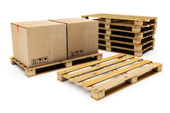 Wooden shipping pallet Stock Images