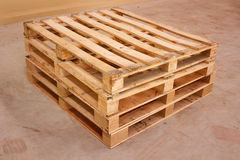 Wooden shipping pallet in standard dimensions. Royalty Free Stock Images