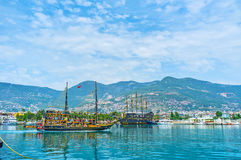 The wooden ships in Alanya Stock Photography