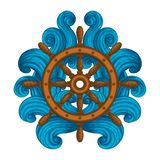 Wooden ships wheel encircled with blue waves. vector illustration