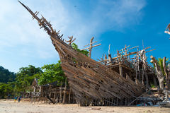 Wooden shipwreck with blue sky Stock Photos