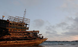 Wooden  shipwreck Royalty Free Stock Images