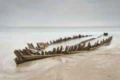 Wooden shipwreck Royalty Free Stock Photo