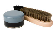 Wooden shoe brush and cream Stock Photography