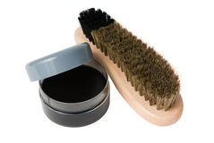 Wooden shoe brush and cream Stock Images