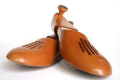 Wooden Shoe Forms. Front view of wooden shoe forms size 9E Royalty Free Stock Photography