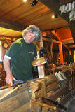 Wooden shoe maker. Picture of a wood shoe maker in Amsterdam stock photos