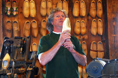 Wooden shoe maker in Amsterdam Stock Image
