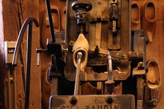 Wooden shoe making device. In historical small dutch village Zaanse Schans Stock Photo
