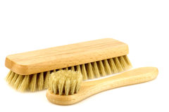 Wooden shoe polishing brushes Stock Photos