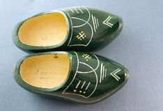Wooden shoes. A pair of original dutch wooden shoes Royalty Free Stock Photos