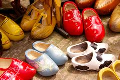 Wooden shoes. Beautiful painted old wooden shoes Stock Photos