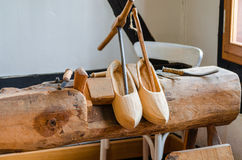 Wooden shoes, clogs production Stock Photo