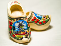 Wooden Shoes from Holland. A pair of traditional yellow wooden shoes from Holland Royalty Free Stock Images