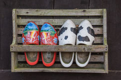 Wooden shoes in a rack Stock Photo