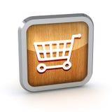 Wooden shopping cart icon Royalty Free Stock Photos