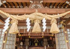 Wooden shrine in the shinto temple in Fukuoka prefecture.  royalty free stock image