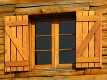 Wooden shutters. Wooden buildings are common in the resort town of San Carlos de Bariloche in Argentina Royalty Free Stock Photography