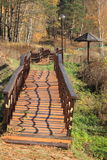 Wooden sidewalk. The floor (sidewalk) from the boards with handrails in the park Stock Photo