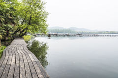 The wooden Sidewalk along the lake Royalty Free Stock Photo
