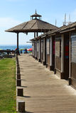 Wooden Sidewalk on Cavancha Beach in Iquique, Chile Stock Photos