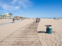 Wooden sidewalk in Santa Monica Beach Royalty Free Stock Photography