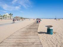 Wooden sidewalk in Santa Monica Beach. LOS ANGELES, USA - MAY 4: wooden sidewalk on May 4, 2014 in Santa Monica Beach, Los Angeles, CA, USA Royalty Free Stock Photography