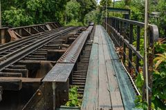 Wooden sidewalk side of railway bridge over the canal Royalty Free Stock Image