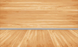 Wooden siding and floor with decorative white. Empty natural wooden siding and floor with decorative white moldings - vector design Royalty Free Stock Photo