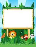 Wooden sign. Customizable with jungle animals Stock Image