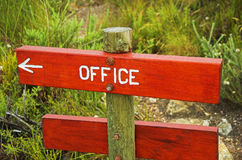 Wooden sign. Sign indicating direction to the office royalty free stock photography