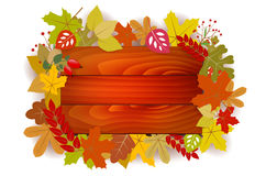 Wooden sign with autumn leaves - place for text Stock Photo