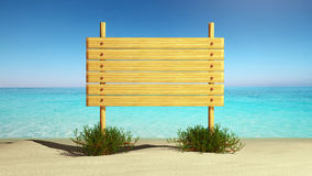 Wooden sign on the beach Stock Photos
