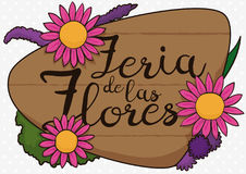 Wooden Sign with Beautiful Flowers for Flowers Festival, Vector Illustration. Commemorative design for Festival of the Flowers written in Spanish in wooden sign Stock Photography