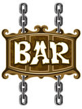 Wooden sign for beer pub or bar Stock Photo