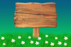 Wooden Sign. Big wooden sign in grass on a summer day Vector Illustration