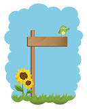 Wooden sign and bird. Illustration of a cute frame with a wooden sign and a bird.EPS file available Stock Photos